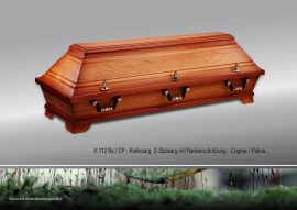 Kiefersarg 112, Zweistab mit Rankenschnitzung  cognac/patina