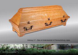 Kiefersarg 117, Zweistab mit 3fach Deckblatt und Palmenschnitzung, cognac
